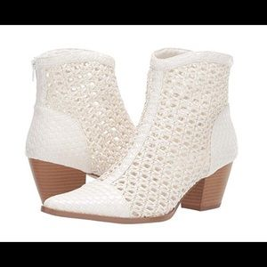 Caught up white woven pointed toe ankle boots